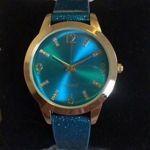Avon Teal Sparkle Strap Party Watch